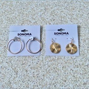 NWT Sonoma Gold Tone Hoop & Sand Dollar Earrings